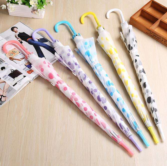 South Korea environmental protection round point transparent umbrella fashion straight pole long handle automatic umbrella