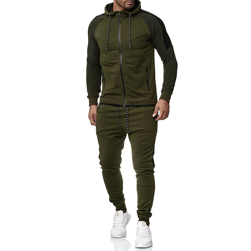 Men's Casual Wear 2019 Run Top Man Autumn Winter New Striped Stitching Pants Hooded Sweater Suit Sports Outdoor Dress Tracksuits