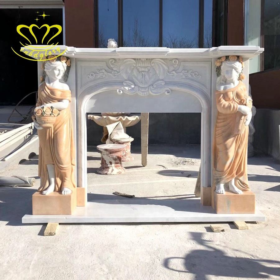 Natural Stone Home Decor Outdoor Garden Fashion New Product Woman Statue With Marble Fireplace Mantel Decorative Flowers