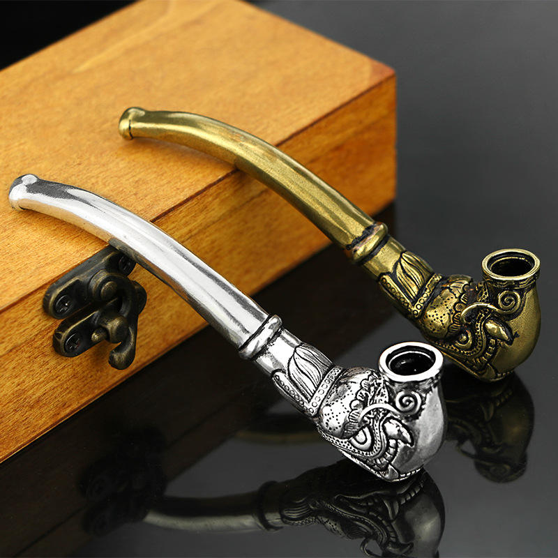 Vintage CA 174 antique brass Thai silver cigarette pipe handmade pure brass men's curved dry tobacco filter pipe smoking sets