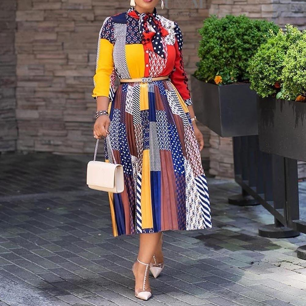 Brand new fall casual floral long sleeve dresses african fashion pleated dress