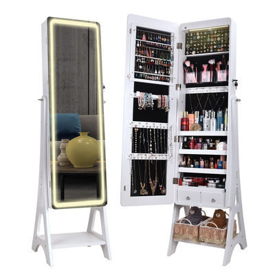 White&black simple style standing locking jewelry armoire