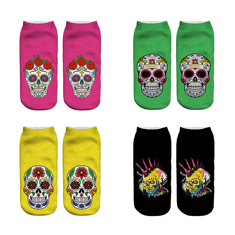 Large Adults Size Personalized Dia de Los Muertos Spanish Mexican Festive Skull Women Socks OEM ODM
