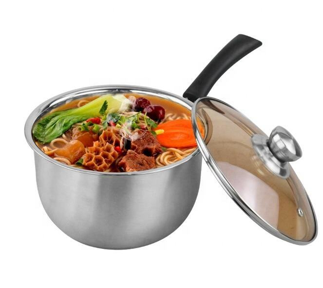 Non stick 304 Stainless Steel Compound bottom Milk Boiling Pot Casserole Cooking Pot With Single Handle