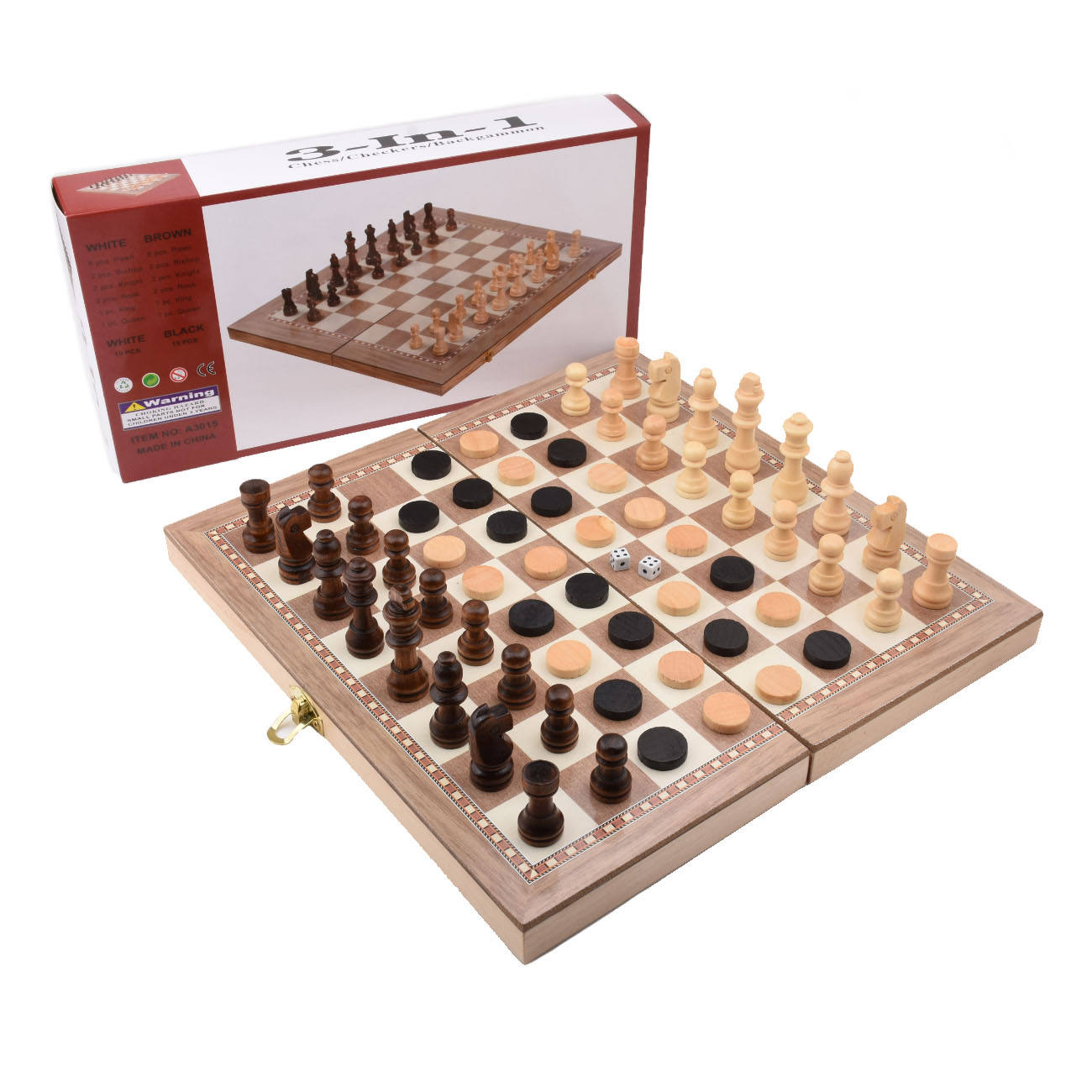 3-in-1 Wooden Backgammon Checkers Folding Board Chess Set Kids Teens Adults Chess Games chess set luxury