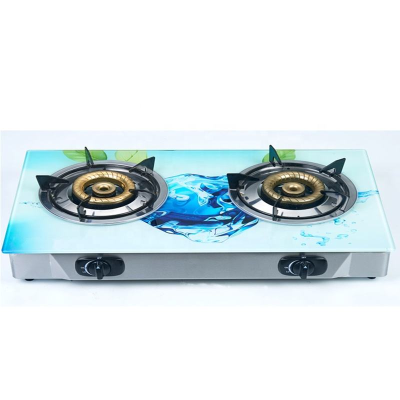 High quality cast iron high pressure 2 burner tempered glass top china cheap model gas stove