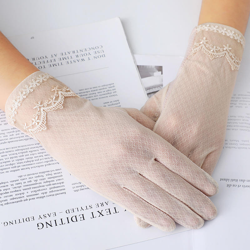 Summer Women Outdoors Anti Ultraviolet Lace Driving Touch Screen Gloves