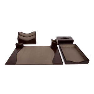 Leather Desk Quality Set, 6 Piece, Brown