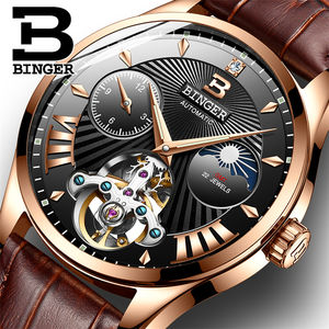 BINGER 1186 Switzerland Luxury Brand Watches Men's Automatic Mechanical Men Watch Sapphire Wristwatches