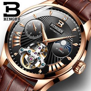 BINGER 1186 Switzerland Luxury Brand Watches Men's Automatic Mechanical Men Watch Sapphire Wristwatches