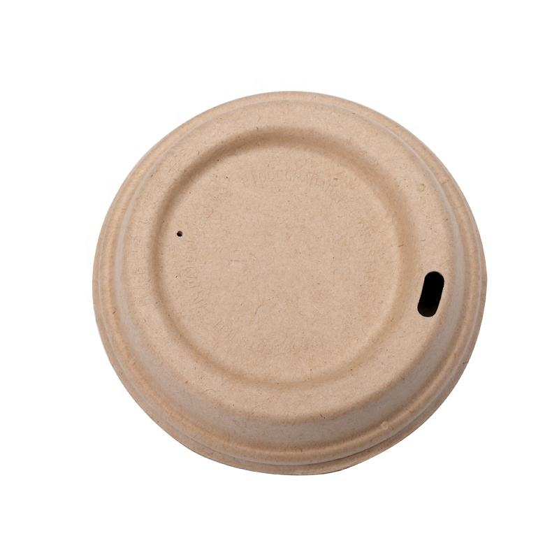 Biodegradable bagasse pulp Logo Printed Coffee Cup Lid