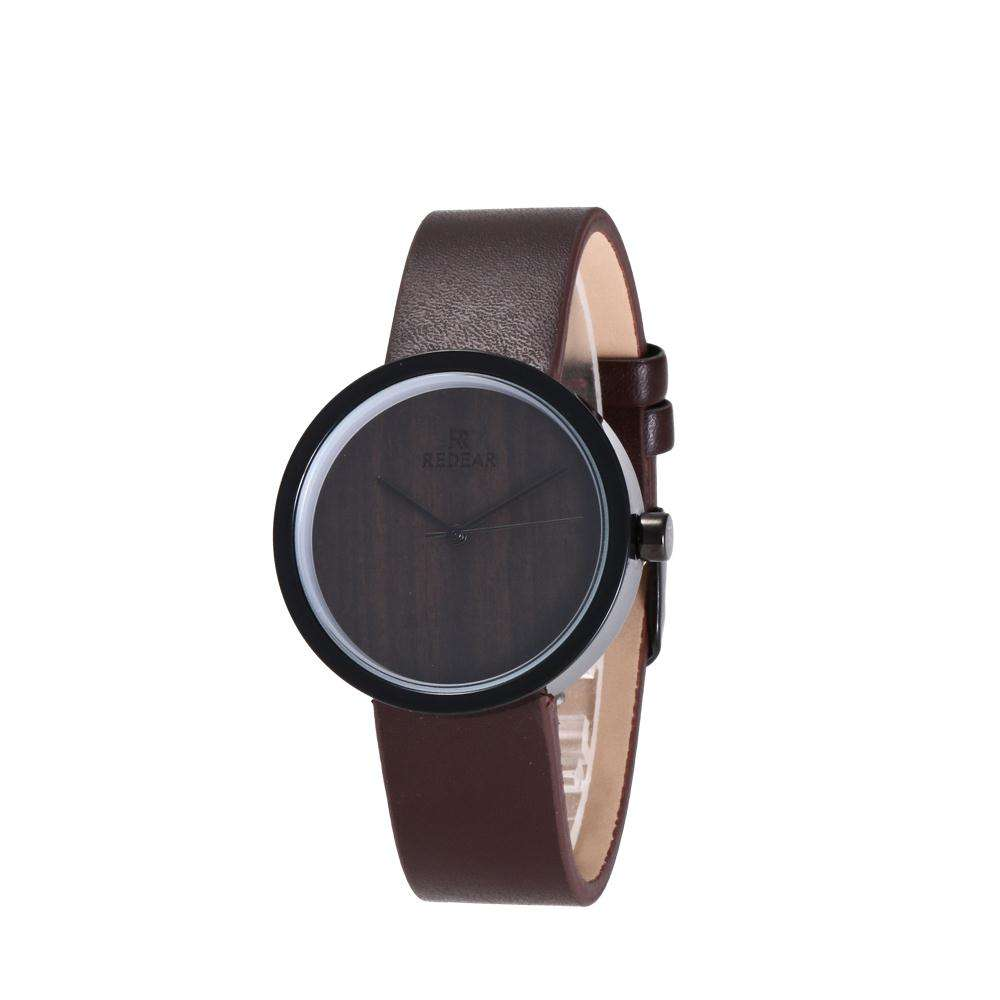 Slim Leather Watches Black Engraved Wood Dial Metal Watch