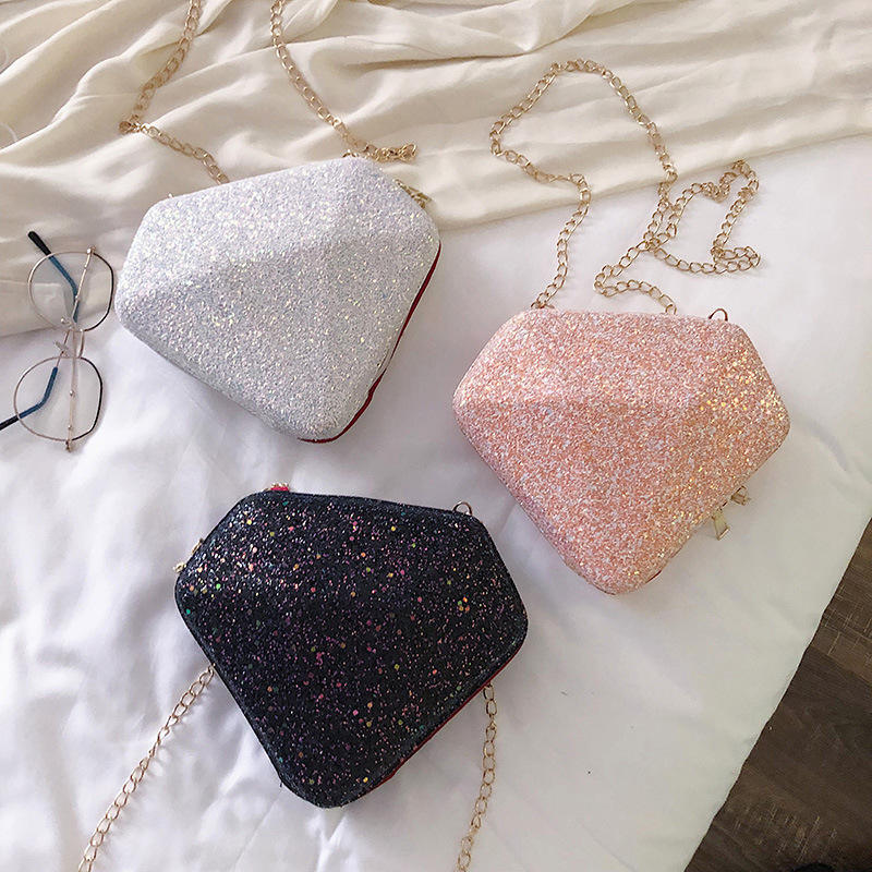 Xuqing 2020 New Arrival Diamond Shape Fashion Sequined Sling Bag for Women