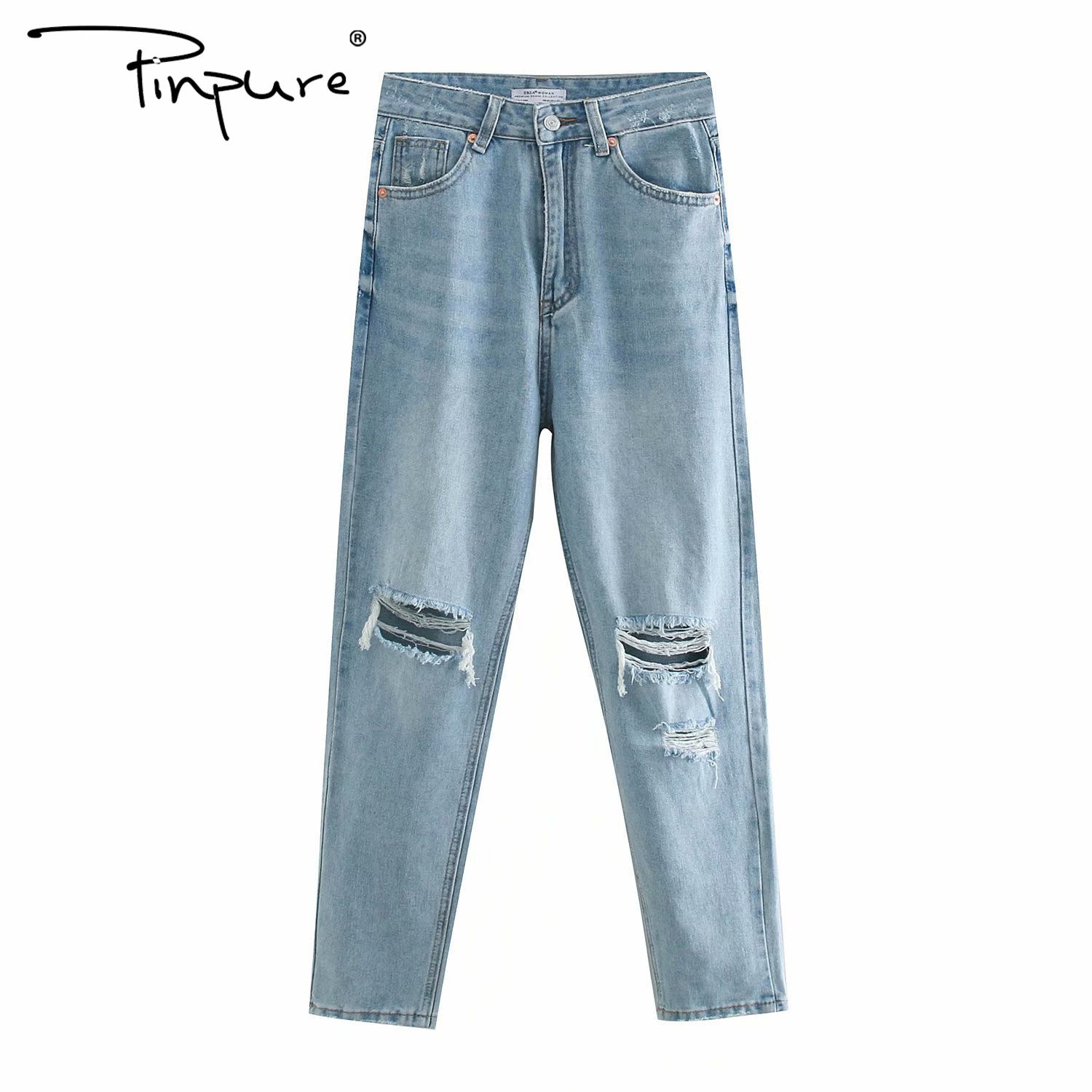 R50965S New 2020 vintage ripped hole tassel blue denim jeans summer women casual pocket jeans