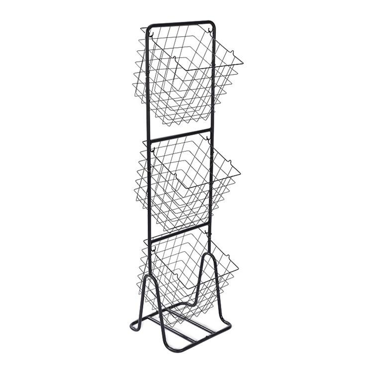 3 Tiers Floor Standing Multi-FunctionalMetal Wire Basket Storage Holders & Racks