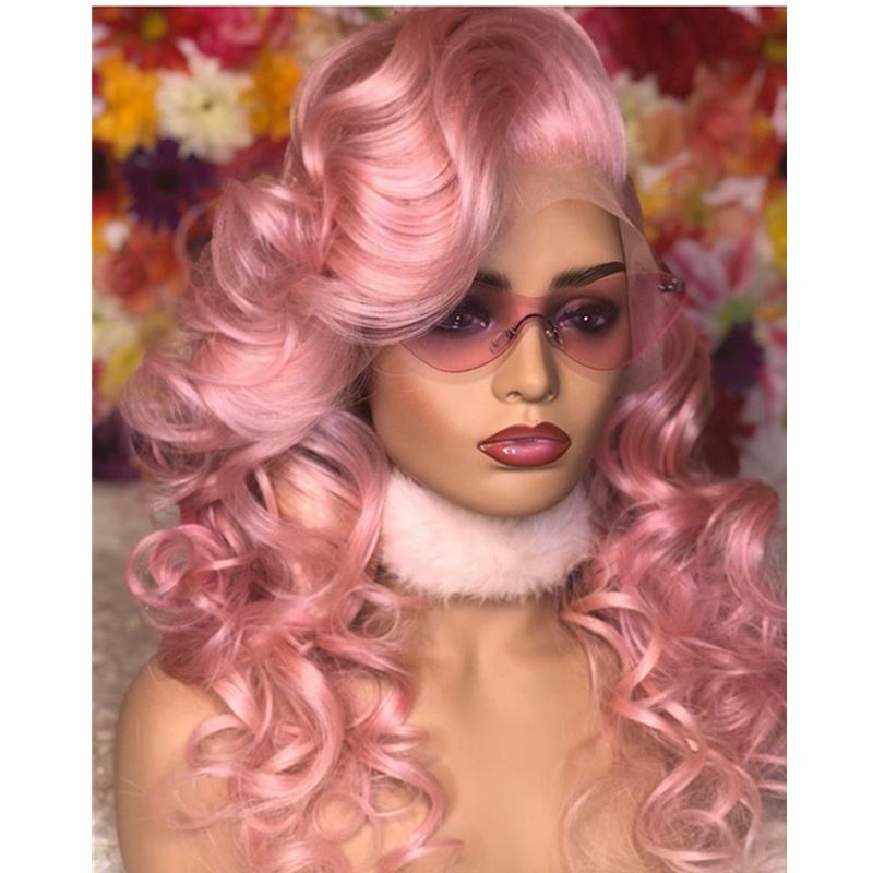 Halloween party wigs human virgin hair brazilian remy body wave pink color hair lace front wigs for black women