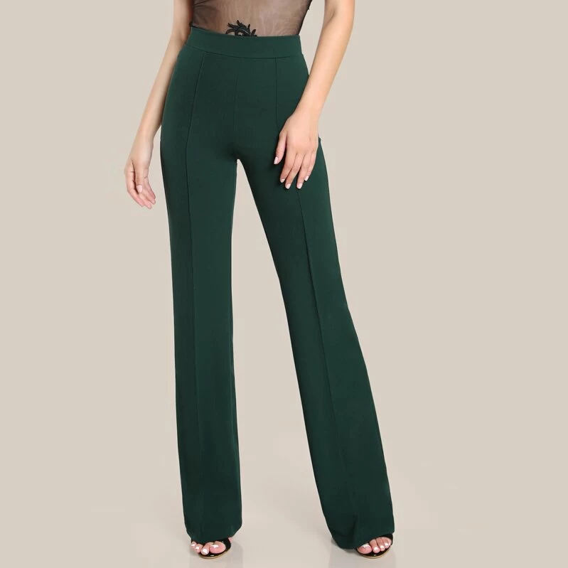 High Rise Piped Dress Pants High Waist Elegant Ladies Long Pants Breathable Trousers