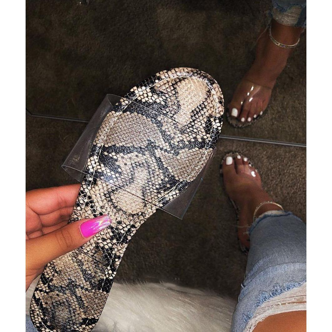 2020 Fashion Women Summer Beach Double Transparent Strap Sandals with Bright Color Flat Little Heightened Slippers