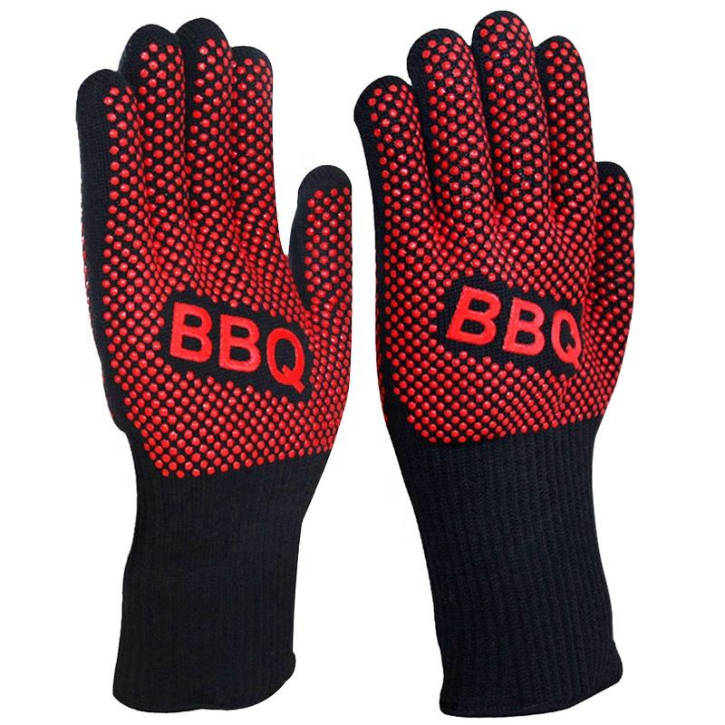 Heat Resistant BBQ Oven Mitts with Anti Slip Silicone Coating oven gloves