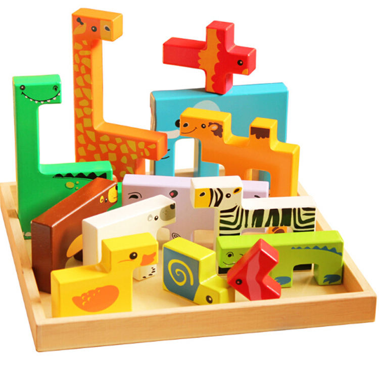 Creative 3D Christmas Gift Animal Wooden Puzzle Game For Kid