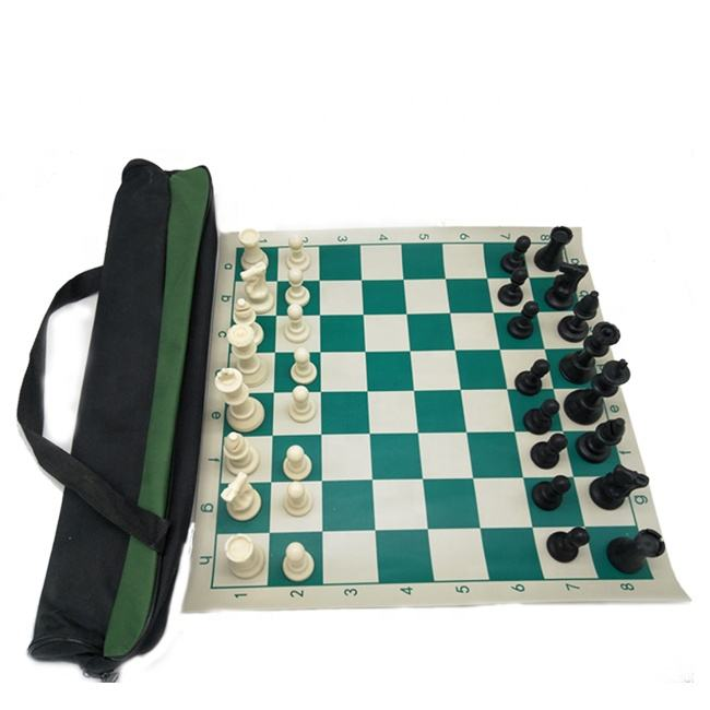 Travelling International Chess Set With Vinyl Chess Board PU Plastic Chess Pieces Portable Canvas Bag