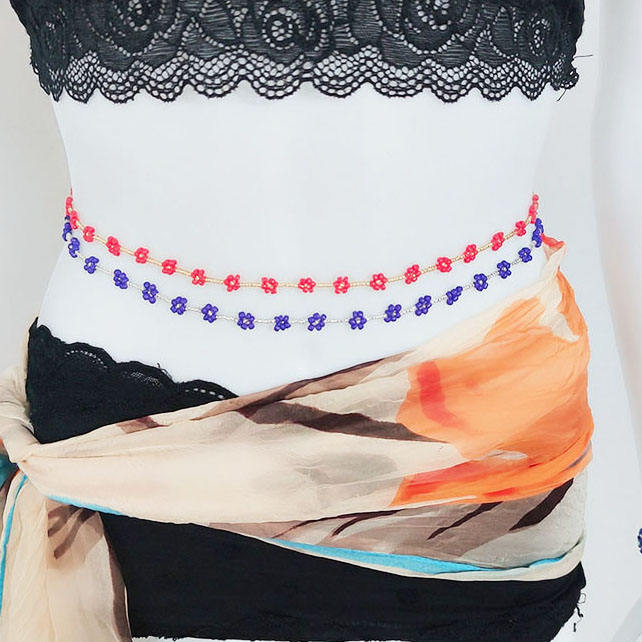 Bohemian Body Jewelry Elastic Colorful Flowers Rice Seed Belly Waist Chain Beads For Women