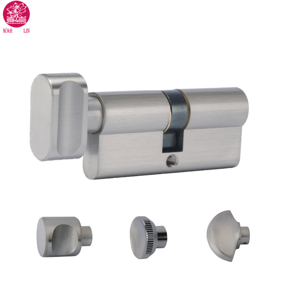 High Security Thumb-Turn Euro Cylinder Door Lock Barrel - Brass & Nickel - Replacement Thumb-Turn Lock Barrel