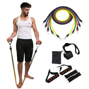 Yoga Pilates Exercise Body Shaping Physical Therapy Training Fitness 5 Colors Tube Pull Rope 11 pcs Heavy Resistance Bands