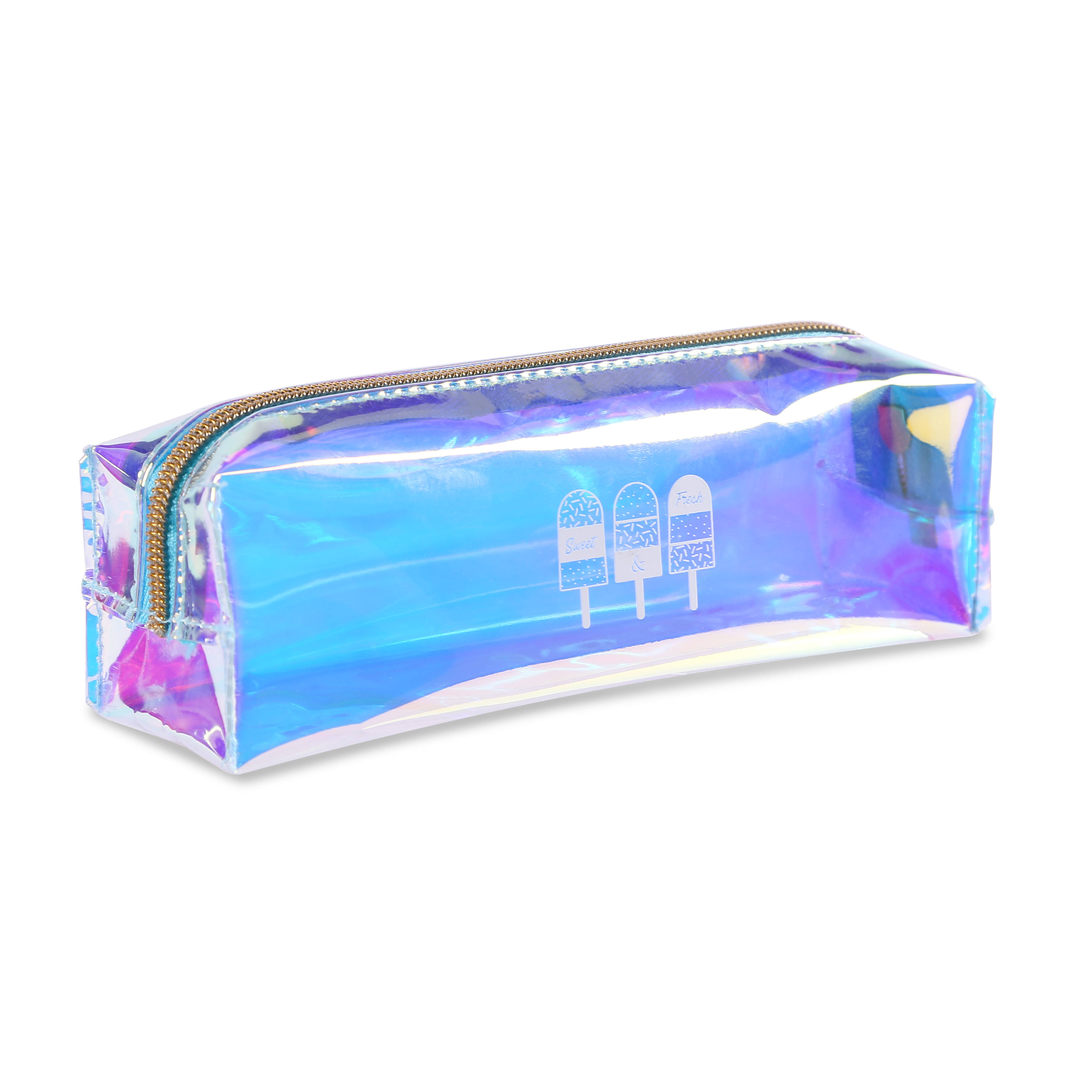 Best selling promotional fashion laser holographic pvc stationery bag zipper pencil bag