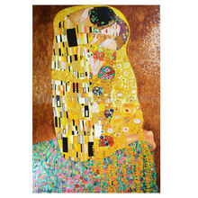 Famous reproduction abstract oil painting gold and ice jade glass mosaic tile hand cut art klimt kiss painting mural for wall