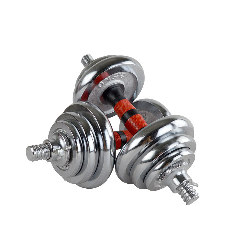 Gym Bodybuilding Adjustable Steel Silver Chrome 20kg 50kg Dumbbell Set
