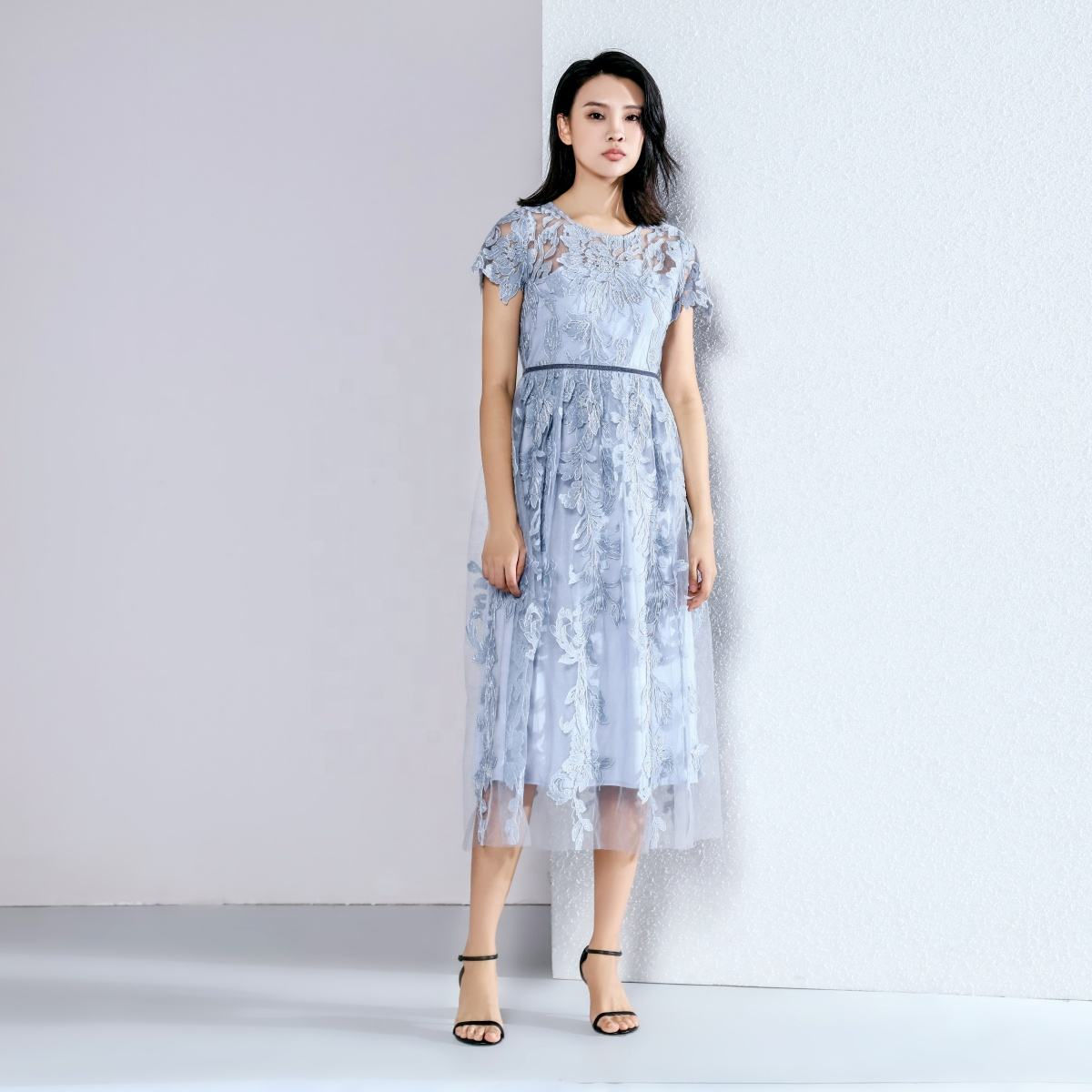2020 new arriva emboridered floral mesh with velvet tape at waist midi dress women summer dress