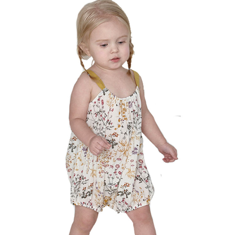 2018 summer 멋을 낼 100% organic cotton baby girl romper 와 꽃 printing