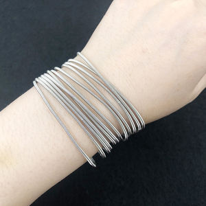 Silver bracelet stainless steel bangle cheap guitar string bracelets metal