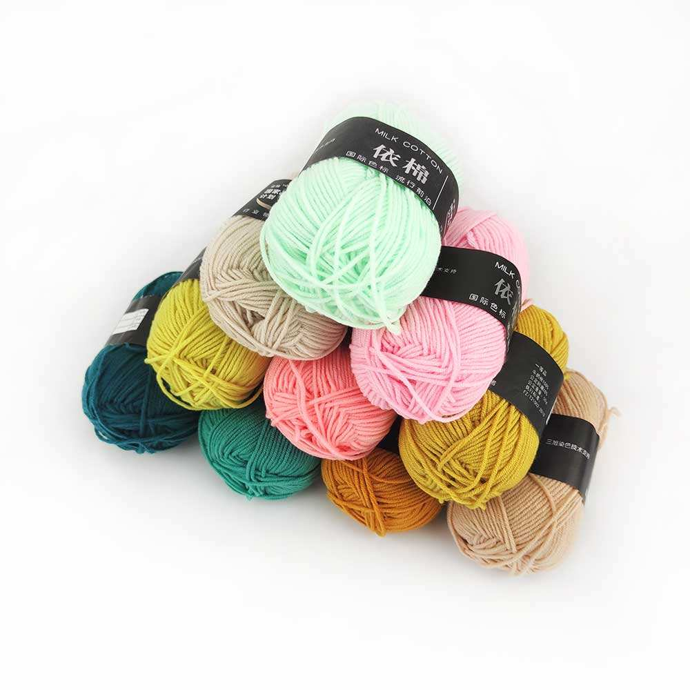Deepeel YC021 DIY Hand Knitted Material Cotton Knitting Cords 4 Strands Crochet Acrylic Wool Milk Cotton Yarn