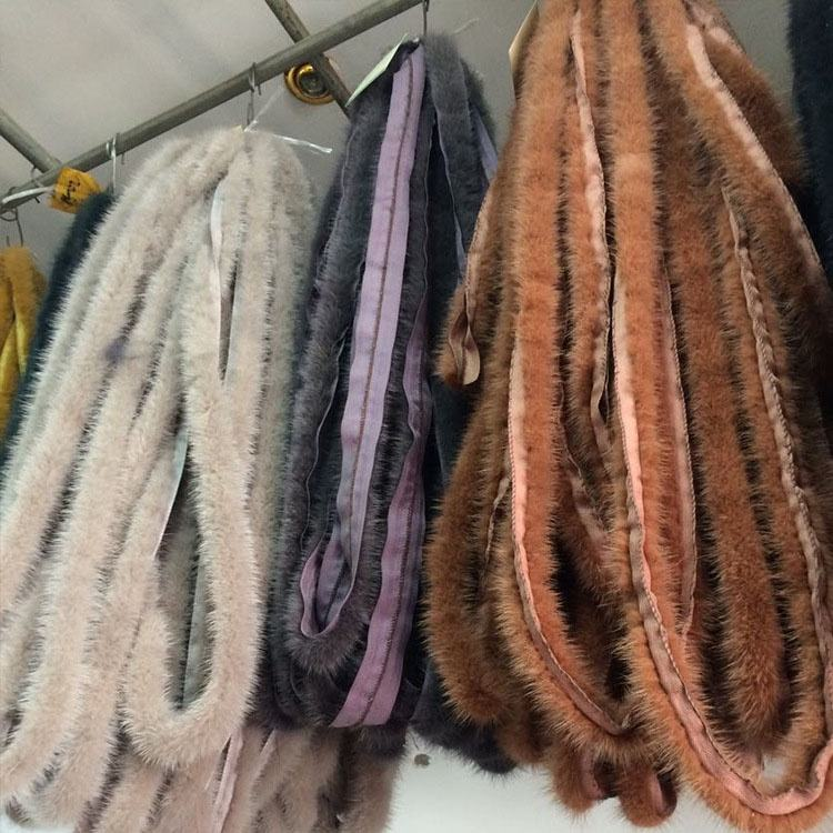 Factory wholesale real mink fur trim strips for garment or shoes decoration