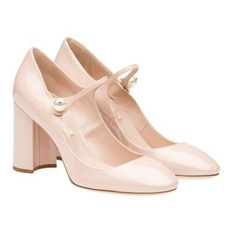 Big Size <span class=keywords><strong>Ronde</strong></span> <span class=keywords><strong>Neus</strong></span> Blok Hakken Pumps Womens Mary Jane