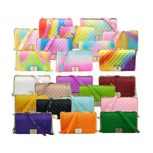 New design quilted women jelly handbag purse shoulder bag pvc silicone jelly bag with chain