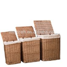 light brown color wicker laundry basket set 3 with lids