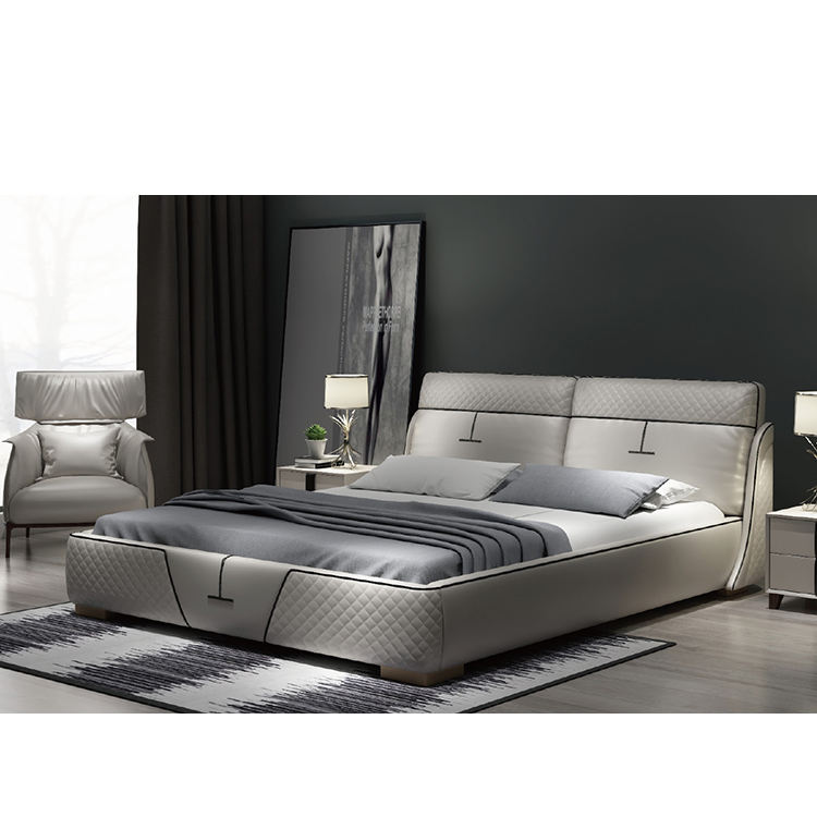 9660# FANDI good quality new white leather bed king size beds modern
