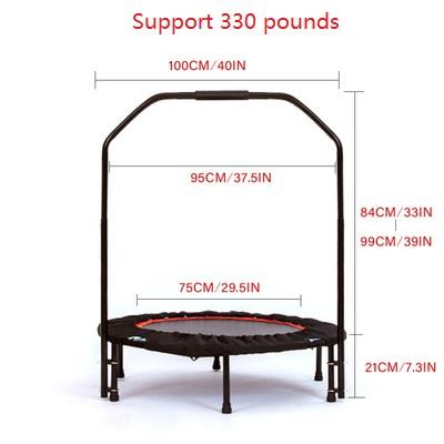 New Adult Children Mini Workout 4 Level Height Adjustabl Foam Handle Jump Trampoline Rebounder