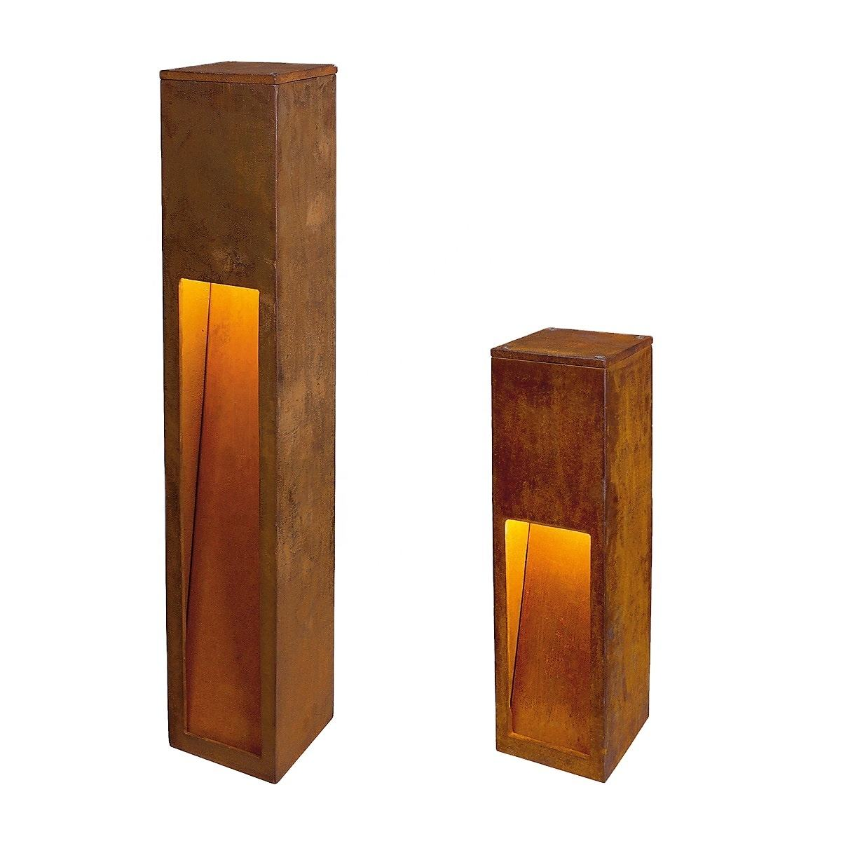 Christmas decor corten steel garden bollards with LED lighting