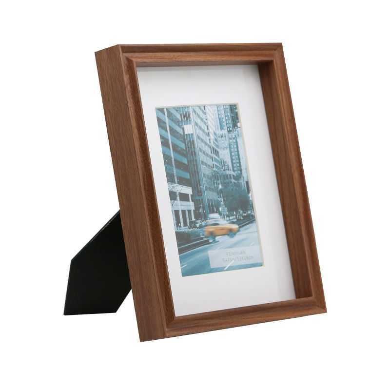 "Dark Brown wood picture frames wholesale Mat Frame 5x7"" Matted 4x6"""