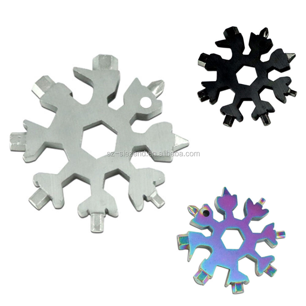 18 IN 1 Bicycle Accessories KeyChain Steel Snowflake Tool, Electric Scooter Hex Key Screwdriver Wrench Snowflakes Multi Tool