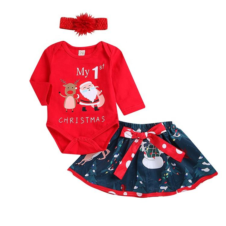 China Newborn Wear Girl Baby Christmas Clothes Set Infant Skirt Wholesale Winter Cotton Custom Baby Grow Bodysuit