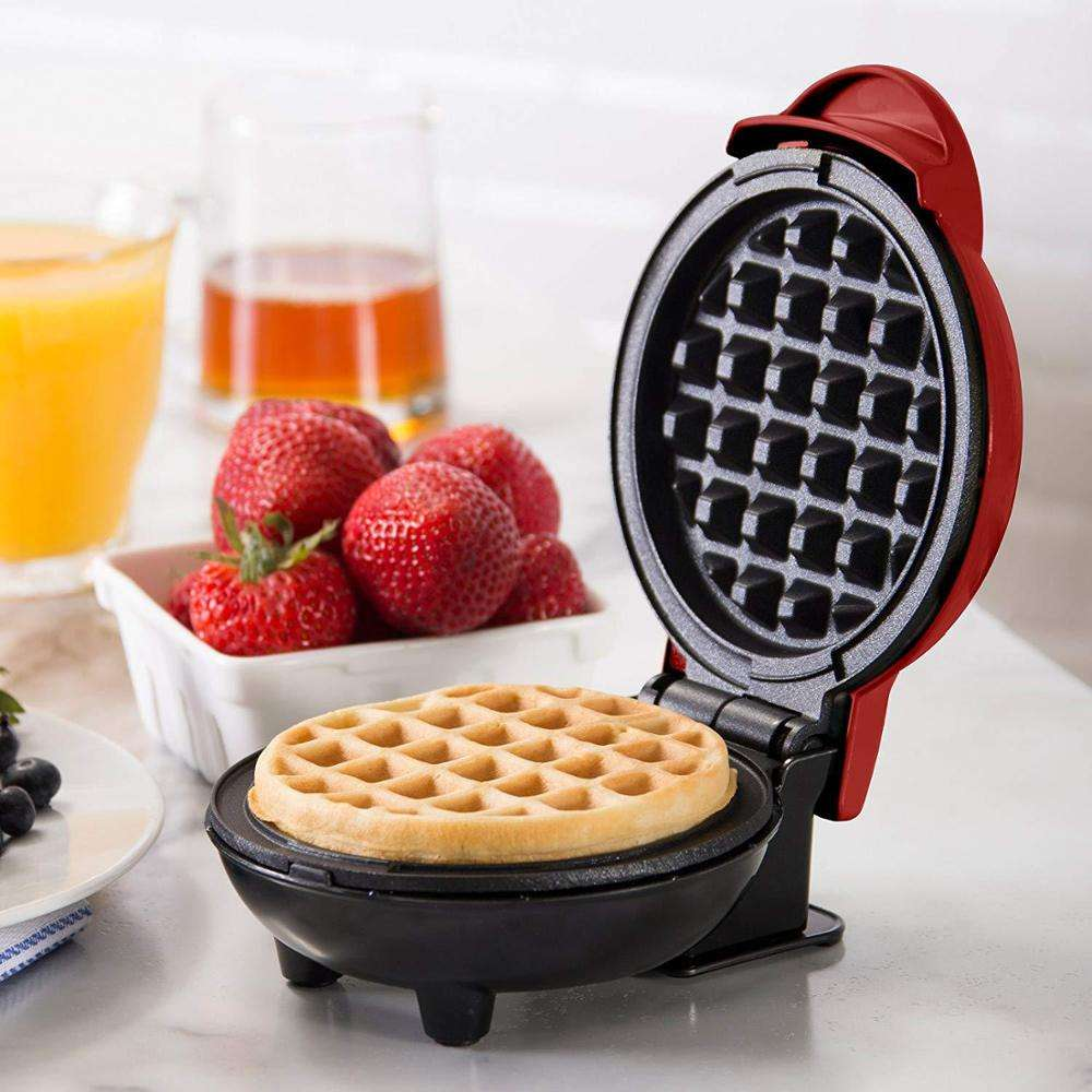 Hot Sale 350W Round Classic Waffle Maker , Red , Biscuit breakfast machine