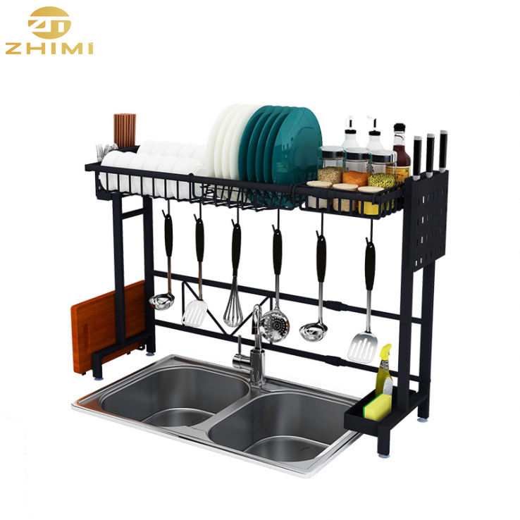 201 Stainless Steel Kitchen Adjustable Dish Drying Rack Over Sink Kitchen Storage Holder