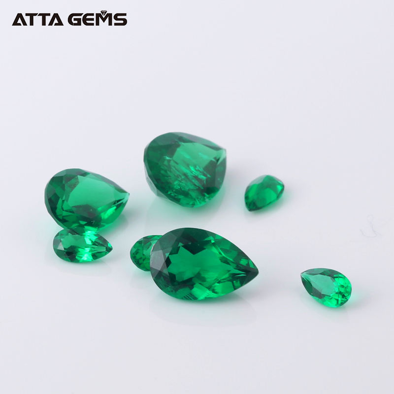Wholesale Dark Green Color Pear Cut Zambian Emerald 9*7mm 1.8 Carat Hydrothermal Lab Created Russian Emerald