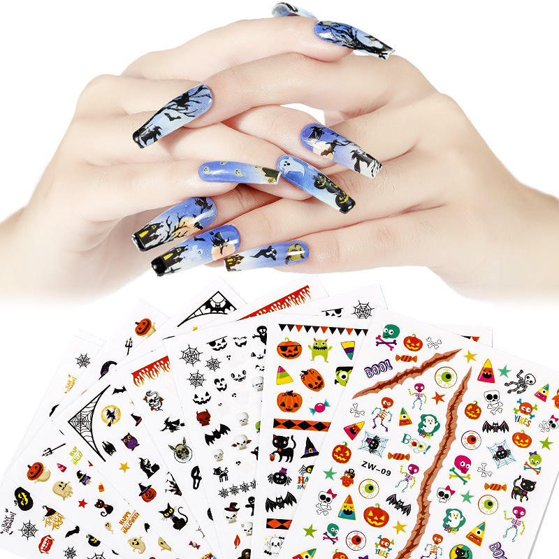 Wholesale Newest Product Nail Art DIY 3D Skull Pumpkin Shape Halloween Christmas Cartoon Nail Sticker