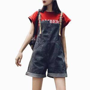 Denim overalls women summer One piece pants New arriver loose retro women jeans Korean Hong Kong style jeans